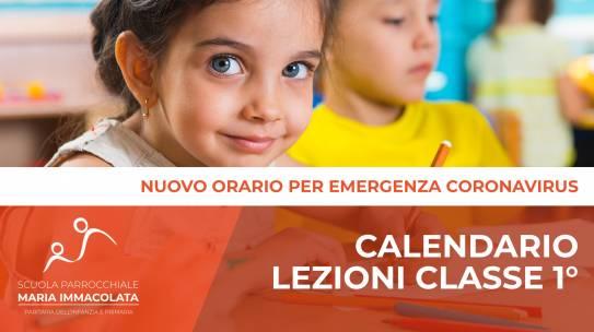 Calendario lezioni durante l'Emergenza Coronavirus – Classe 1