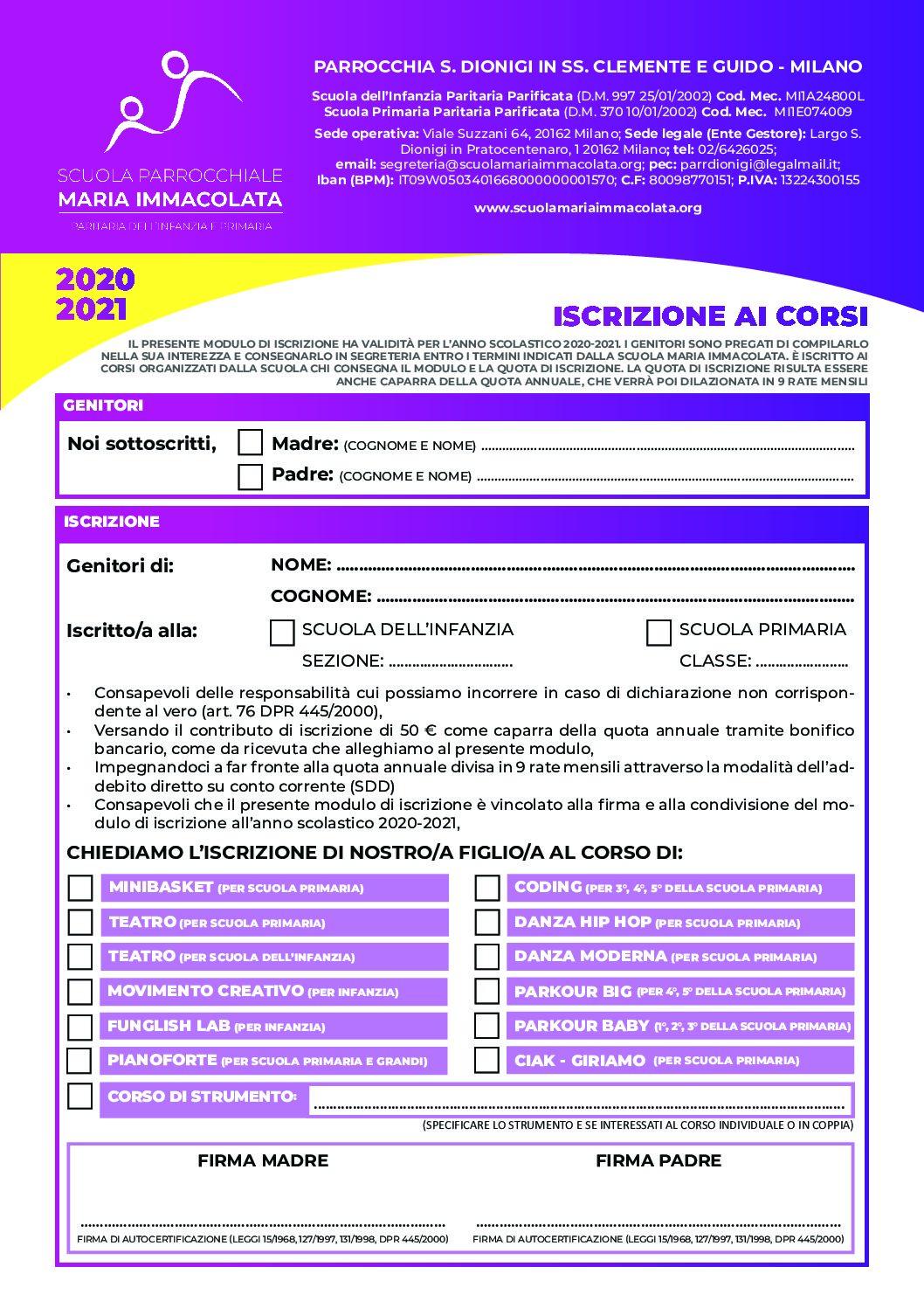 Modulo d'iscrizione ai corsi extrascolastici