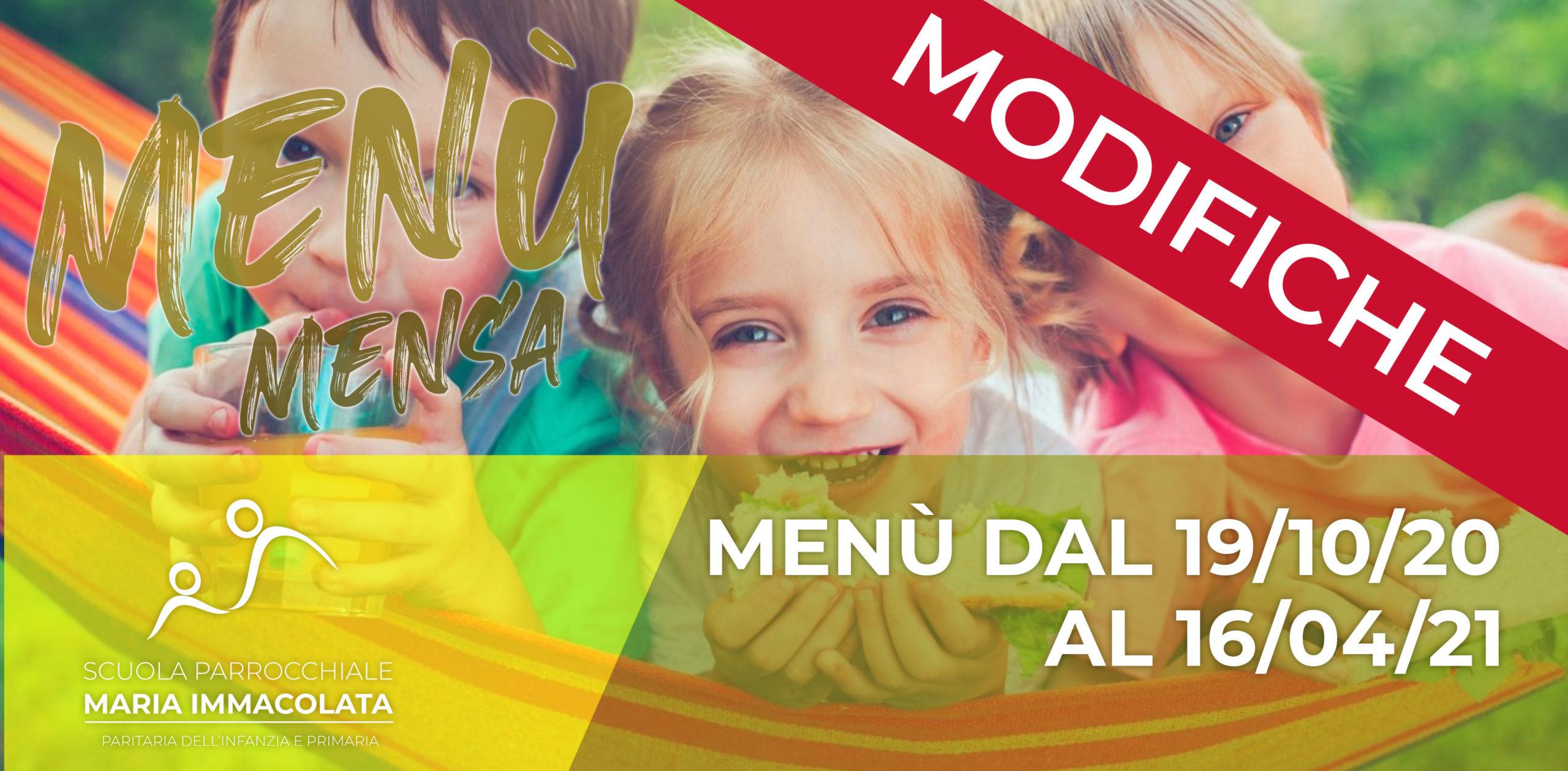 Modifiche al menù per la Scuola Primaria per il 24 e 26 novembre 2020