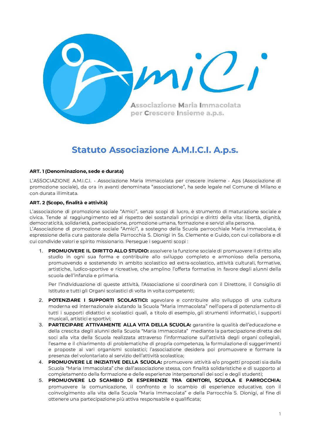 Statuto Associazione A.M.I.C.I.