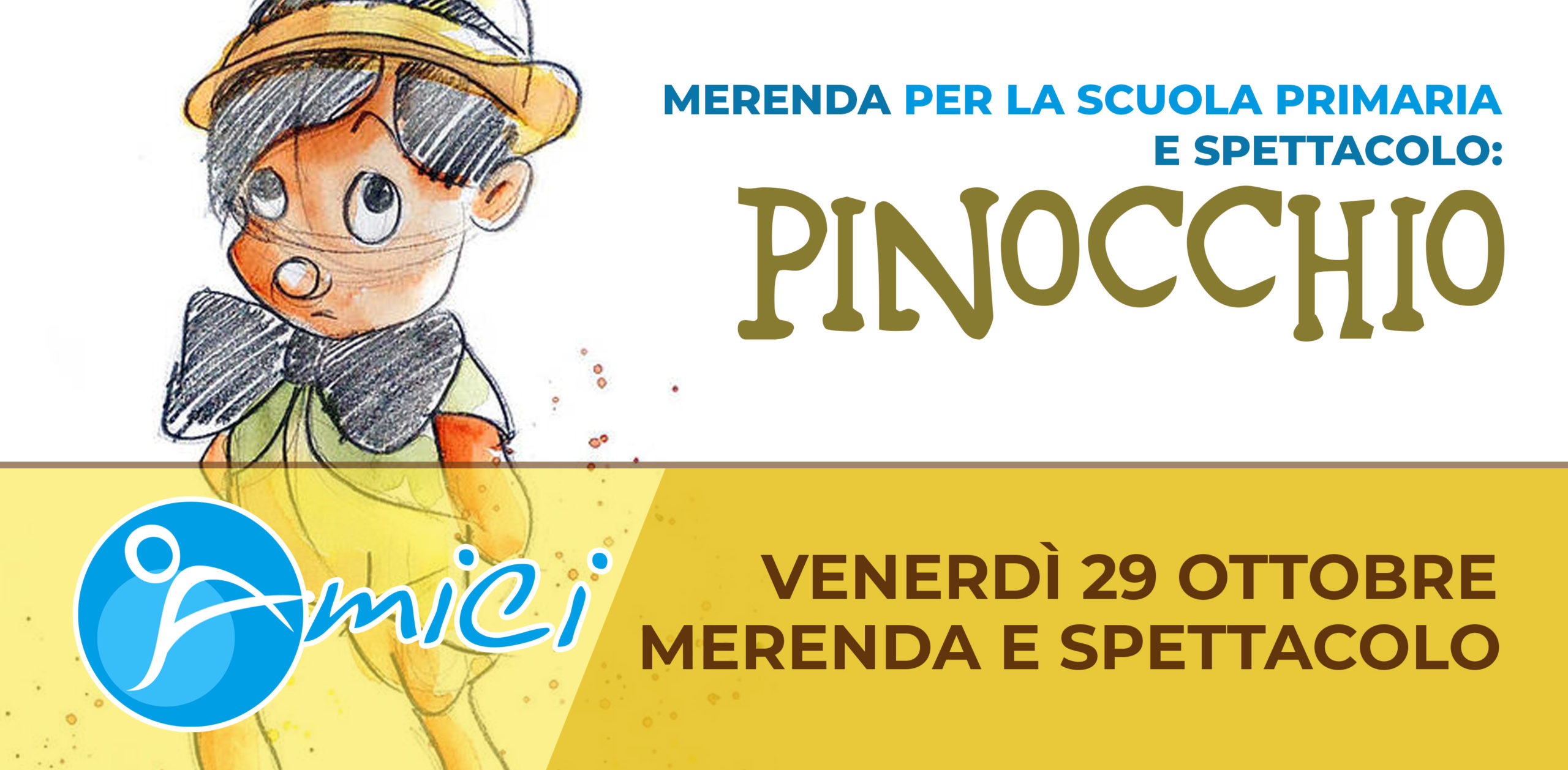 """Merenda e spettacolo """"Pinocchio"""" per la Scuola Primaria"""